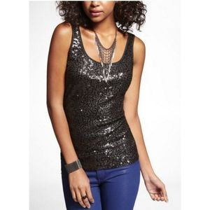 Express Black Sparkle Sequin Ribbed Tank Top